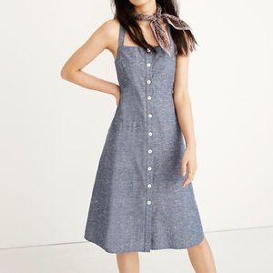 NWT Madewell chambray tank button front midi dress